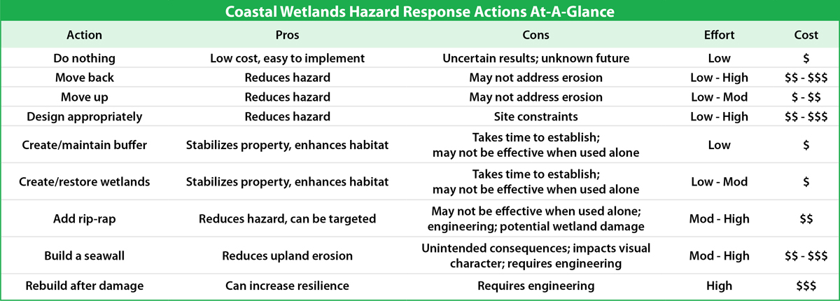 Coastal Wetlands Hazard Actions at a Glance