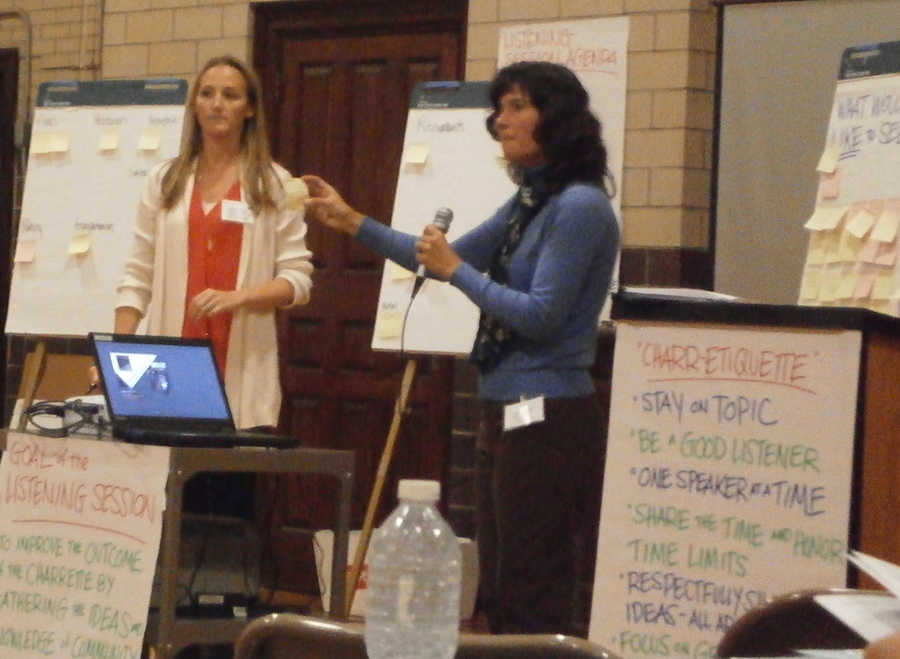 two women leading a meeting with flip charts