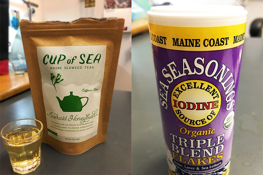side-by-side images of a brown paper bag containing tea, and a shaker of seasoning flakes containing dulse, laver, and sea lettuce.